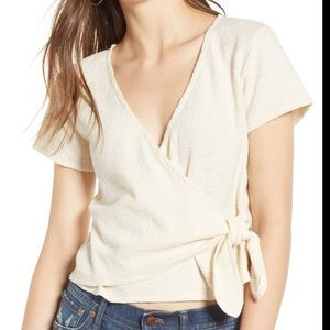 Madewell Texture & Thread Wrap Top White